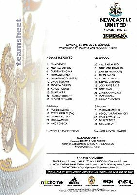Teamsheet - Newcastle United v Liverpool 2002/3