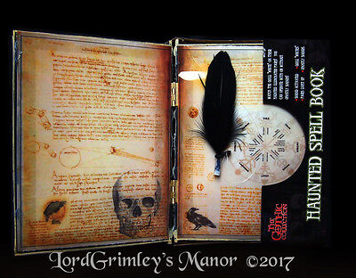 Animated Haunted Spellbook W/ Feather Pen Halloween Props Horror Decoration