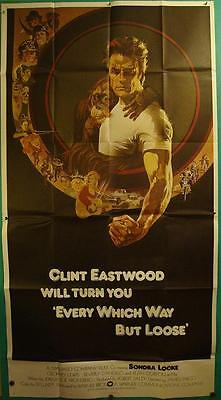 Western Fave Clint Eastwood Every Which Way But Loose Original Bob Peak 3 Sheet