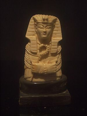 Antique Carved Bovine Bone Egyptian Revival King Tut Bust