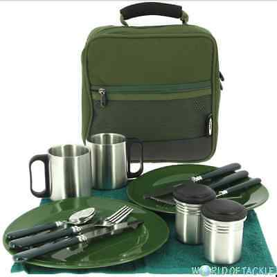 Fishing Cutlery Bag Deluxe Set with 2x Plates Knives Forks & Mugs NGT Camping