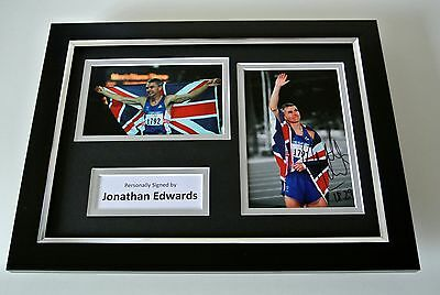 Jonathan Edwards SIGNED A4 FRAMED Photo Autograph Display Olympic Triple Jump