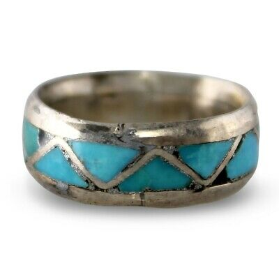 VINTAGE 1970s Inlaid TURQUOISE 925 STERLING Silver Southwest BAND RING Size 4.75