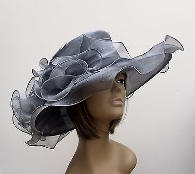 New Large Silver Grey Organza Brides Wedding Hat Mother Of The Bride/Groom Races