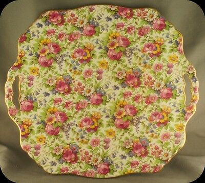 Vintage Royal Winton Grimwades Chintz Summertime Handled Cake Plate