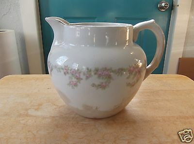 Vintage Creamy White Buffalo Pottery Pitcher with Pink Rose Design