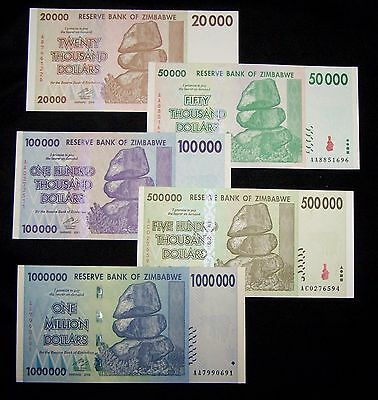 5 x Zimbabwe banknotes 20/50/100/500k &1 million Dollars-about unc currency-2008