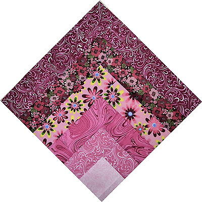 "QUILT BLOCKS-Half Log Cabin in Shades of Pink to Wine, 9 1/2""sq, MADE IN AMERICA"