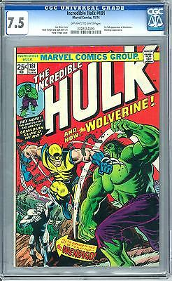 Incredible Hulk #181 CGC 7.5 (OW-W) Origin & 1st Appearnace of Wolverine X-Men