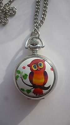 silver vintage style necklace pendant pocket owl watch mini locket
