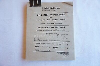 1965 Original Engine Workings Southern Region South Western Passenger & Freight
