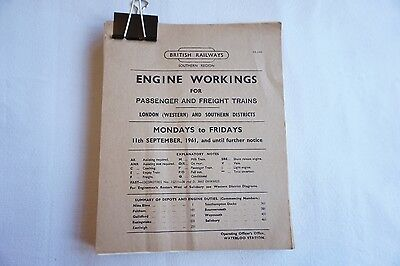 1961 Original Engine Workings Southern Region London Western Passenger & Freight