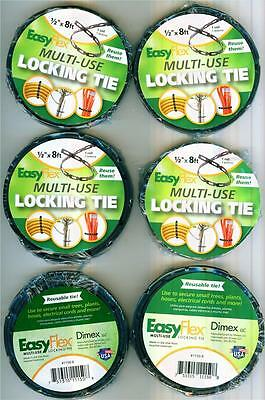 """6 ROLLS EasyFlex Multi-Use LOCKING TIE 1/2"""" x 8ft Reusable ALMOST 50 FEET New!"""