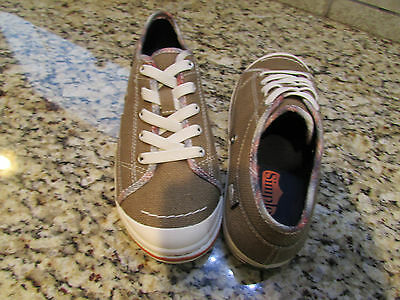 New Simple Take On Elastic Tan Canvas Sneakers Shoes Womens 5 #9034