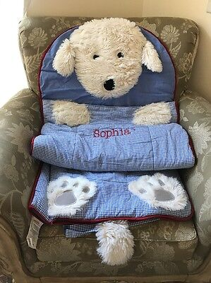 Pottery Barn Kids Shaggy Dog Sleeping Bag Blue Gingham Sophia Mono Regular Size