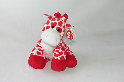 "2007 Ty Pluffies Beanie Kisser Giraffe Red Hearts White Plush Baby 10"" Toy NWT"