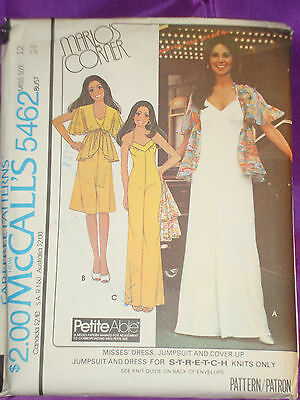 70s Vintg Dress or Jumpsuit 2 Lngths n Cover Up FF McCalls Pattern 5462 Bust 34