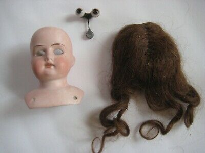 Late 19 Th. Century Bisque Model O Doll Head With Brunette Wig - Made In Germany