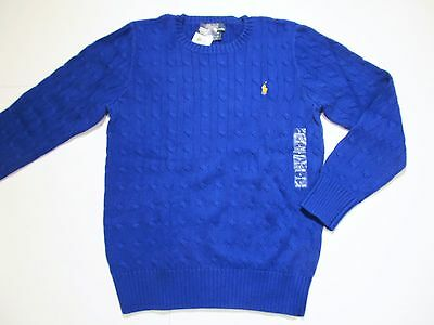 New tag NWT Ralph Lauren Boys Polo Blue Cotton Cable Crew Winter Sweater L XL