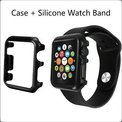 2 in 1 Bundle 42mm Black For Apple Watch Hard Protective Case+Silicone Band