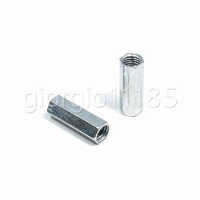 5 pcs M6 x 1 x 20mm Long Rod Coupling Hex Nut Connector Zinc Plated New