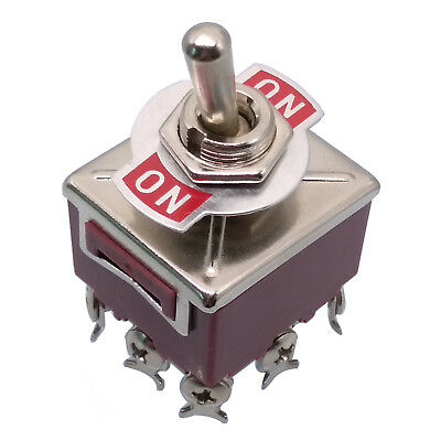 US Stock ON-ON 3PDT 9 Pin Terminals Latching Toggle Switch 302 AC 250V 15A
