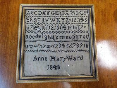 Victorian Miniature Size  Embroidery Alphabet Sampler  Anne Mary Ward 1840