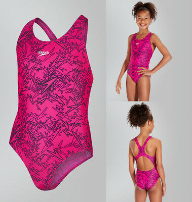 SPEEDO GIRLS Boom Allover Splashback Swimming Costume - Pink/Black (119664)