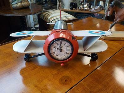 Aeroplane Clock Industrial Retro Vintage Looking Clock Biplane Clock