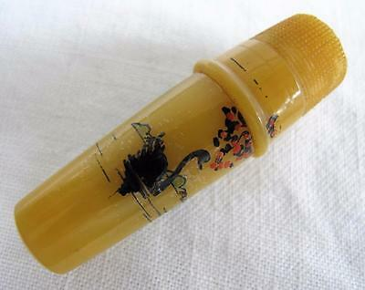 VINTAGE 1920's YELLOW PAINTED CELLULOID SEWING ETUI NEEDLE CASE & THIMBLE - SWAN