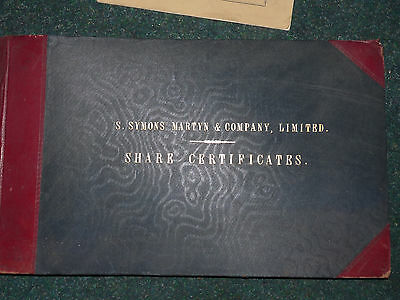 SCRIPOPHILY VINTAGE 1905 CERTIFICATES, S Symons Martyn & Company Ltd, BOOK of 83