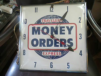 Working,travelers Express,money Orders,advertising Glass Pam Clock Co.vintage