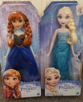 "Pair Of 12"" Disney Barbie Dolls, Anna And Elsa From Frozen, New And Boxed"