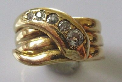 Secondhand Large Heavy 18ct Yellow Gold Multi Diamond Snake Ring Size Q.