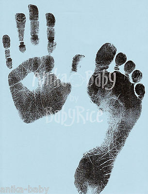 Newborn Baby Boy Toddler Hand Prints Footprints Inkless Wipe Kit Blue A4 Cards