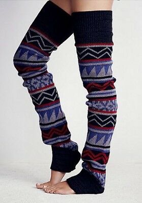 Free People Loveland Thigh High Leg Warmers Blue Combo