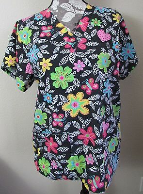 Hearts & Flowers Scrub Top - Size Small VGC