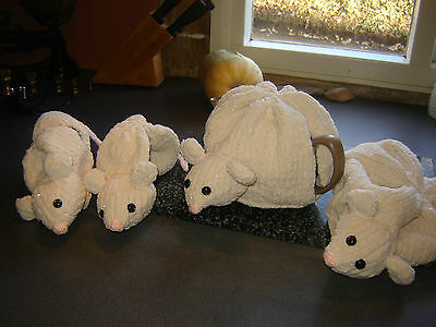 Hand Knitted Mouse Tea Cosy 2 4 & 6 cup Teapot Country Life Shabby Chic