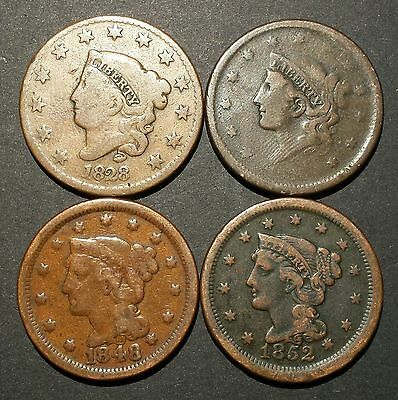 4 pc lot of U.S Large Cents 1828, 1838, 1848, 1852  Nice!!