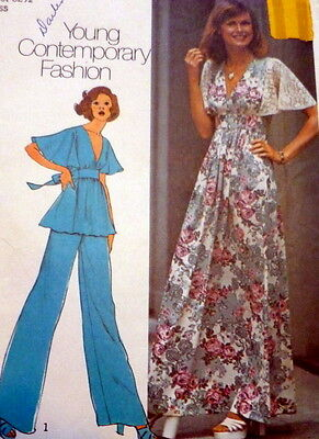 LOVELY VTG 1970s DRESS TOP PANTS Sewing Pattern 10/32.5
