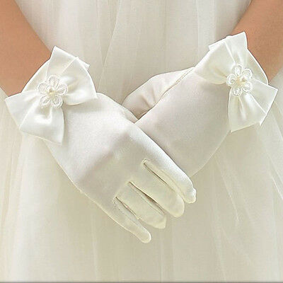 Girls Ivory Satin Gloves Wedding Bridesmaid Flower Girl Communion Beauty Pageant