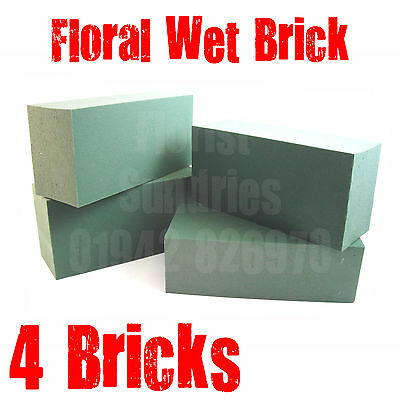 4 x FLOREX GREEN FLORIST FLORAL FLOWER FOAM WET BRICKS FOR FRESH FLOWERS