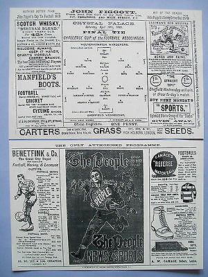 1896 FA Cup final programme Sheffield Wednesday v Wolverhampton Wanderers mint.