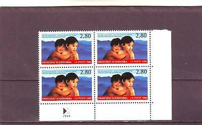 ANDORRA(FRENCH) - SGF509 MNH 1996 25th ANNIV OF SPECIAL SCHOOL - BLOCK OF 4