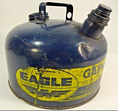 VTG Eagle Blue Galvanized Metal 2 Gal Kerosene - Gas Can Model 402 Used Tank