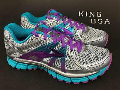 Women's Brooks Adrenaline GTS 17 Running Athletic Shoes Silver Purple Bluebird