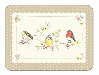 Luxury Bright Country Robin Birds Polka Dots 4 X Placemats Cork Backed