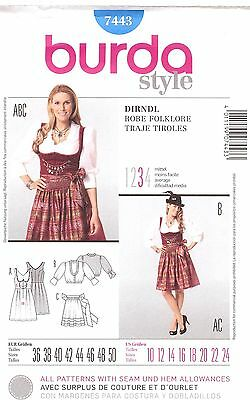 German Folklore dress tosew PATTERN Historical Burda 7443 sz 10-24 Dirndl