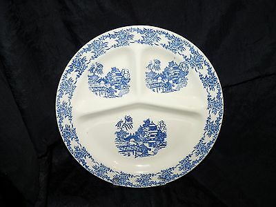 """Blue Willow Divided Plate Made In Usa 11"""" Vintage"""