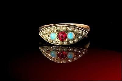 Antique Early Victorian Ruby Opal Seed Pearl 10K Gold Girl Ring (012517040)